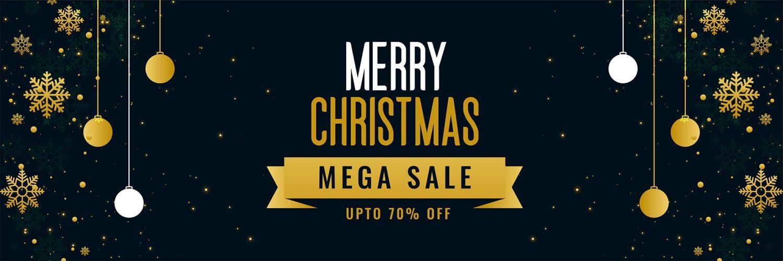 merry christmas mega sale golden banner template